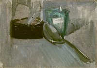 Still life with spoon and glass