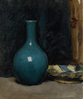Still life with blue pot and folded...