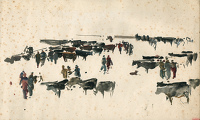 Sketch for Cattle Market Newport, 1949