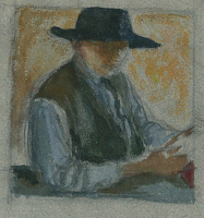 Self portrait in a large brimmed...