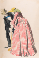 Man and woman playing croquet