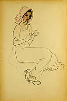 Study of a seated lady with pink hat