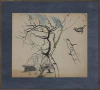 Study of an apple tree with finch