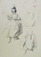 Working sketch of a young woman...