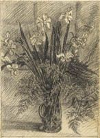Narcissi and ferns in a vase
