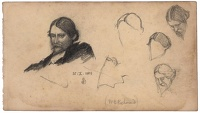 Sheet of portrait studies of Sir...