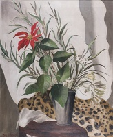 Still life of red lily with leopard...