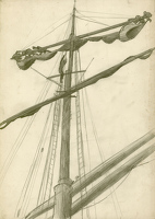 Three sailors working on the mast of...