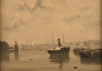 Morning: view along the Thames