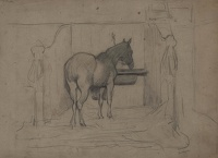 Study of a horse in a stable