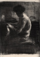 Seated nude in the dark