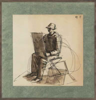 The Artist seated sketching, circa 1960