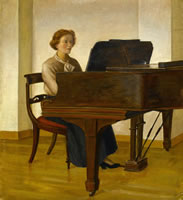 Rosamond Ley seated at her piano