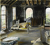 Bedroom of a derelict house, 1958