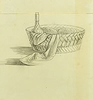 Still life of basket with wine