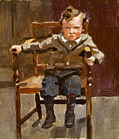 Portait of a young boy seated to one...