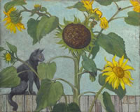 Black Cat and Sunflowers with green...